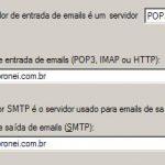 Configurando servidor de entrada e saída no outlook express